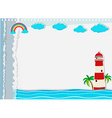 Paper design with lighthouse and ocean vector image vector image