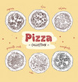 pizza top view set with different ingredients vector image vector image