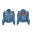 rock style denim jacket set vector image vector image