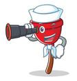 sailor with binocular plunger character cartoon vector image vector image