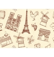 Seamless background with Paris sketches vector image vector image