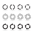 set of black circle arrows vector image vector image