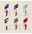 set of isometric 3d people with flags of oceania vector image vector image