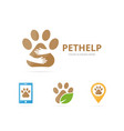 set of paw logo combination pet and embrace vector image