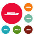 ship river icons circle set vector image vector image