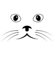sketch cat face simple cat face mustache vector image vector image