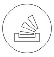 stacking in the tray black icon outline in circle vector image vector image