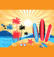 summer tropical landscape with palm trees vector image vector image