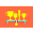 Trophies and awards on shelf vector image vector image