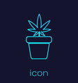 turquoise line medical marijuana or cannabis plant vector image vector image