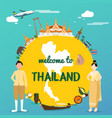 welcome to thailand with traditional landmarks map vector image vector image