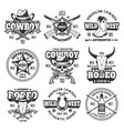 wild west and cowboys vintage emblems vector image vector image
