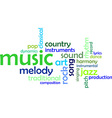 word cloud music vector image vector image