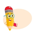 Yellow cartoon pencil in nerdy glasses telling vector image vector image
