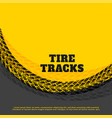 yellow tire track print mark background design vector image vector image