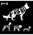 Dogs silhouettes with text inside isolated vector image