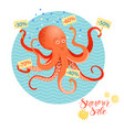 summer sales poster with octopus vector image