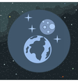 Digital planet earth icon with stars vector image