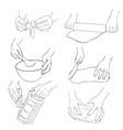 set of cooking hands vector image