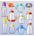 baby bottle kids plastic container with vector image