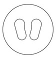 baby footprint in footwear black icon outline in vector image