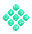 baby icons in linear style vector image