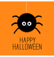 Big hanging fluffy spider Happy Halloween card vector image