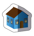 blue beautiful house with door window and roof vector image vector image