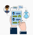business man chatting with chatbot holding digital vector image vector image
