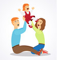 cartoon mother and father playing with daughter vector image