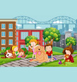 children with pet at the park vector image vector image