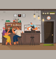 coffee shop or cafe with barista clients talking vector image vector image