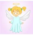 cute christmas girl angel character vector image vector image