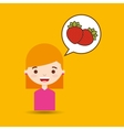 cute girl cartoon strawberry health graphic vector image