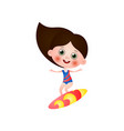 cute smiling girl in swimming suit surfing vector image vector image