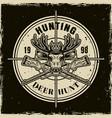 deer hunting round light emblem on dark vector image vector image