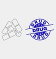 dot medical pills icon and distress drug vector image vector image