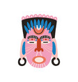 ethnic african tribal pink mask with closed eyes vector image