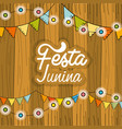 festa junina with chain bulbs and wood background vector image vector image