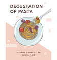 flyer template with plate of appetizing spaghetti vector image vector image