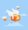 flying delivery package box with wings on blue vector image vector image