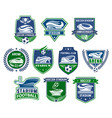 football sport badge with soccer ball and stadium vector image vector image