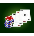 Four aces and chips vector image vector image
