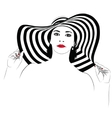 Girl with dark hair in big striped hat vector image vector image