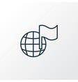 globe with flag icon line symbol premium quality vector image vector image