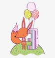 happy fox birthday three years with balloons vector image