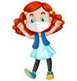 happy girl cartoon character wearing mask vector image vector image
