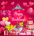 happy wedding heart cake balloons and flowers vector image vector image