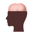 human face brown silhouette with brain exposed in vector image vector image