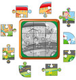 jigsaw pieces of kids on the road vector image vector image